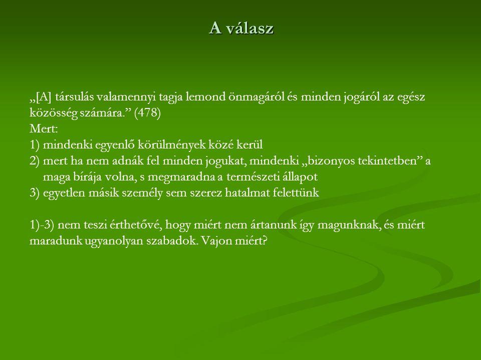 """A válasz """"[A] társulás valamennyi tagja lemond önmagáról és minden jogáról az egész közösség számára. (478)"""